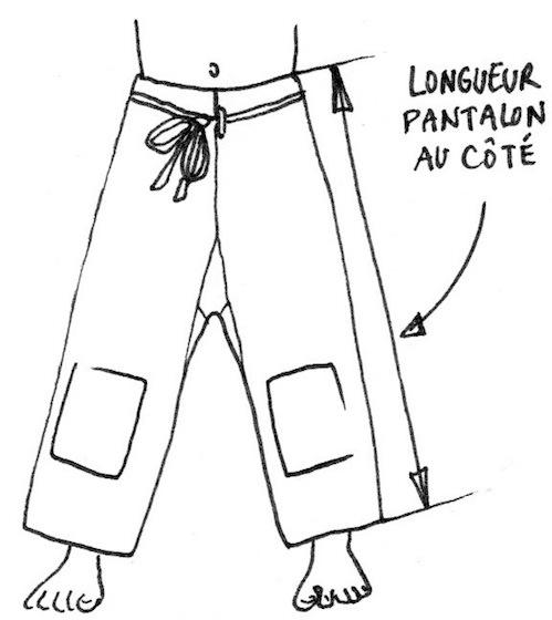 Dessin montrant la mesure au côté pour le pantalon